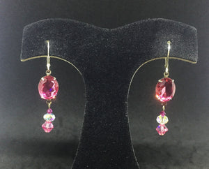 Vintage Rose Oval Rhinestone earring with Crystal Drops