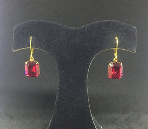 Vintage Swarovski Ruby Red Octagon Earrings