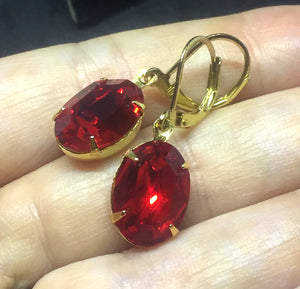 Large Light Siam Red Oval Earrings