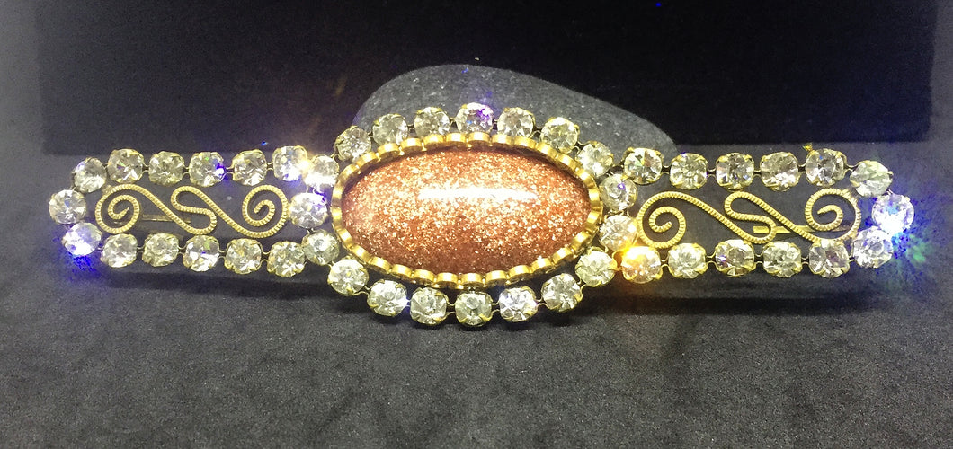 Vintage Brass & Paste Rhinestone Belt or Connector