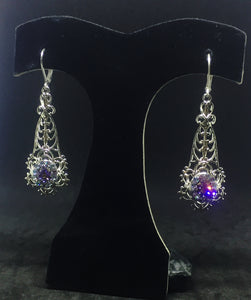 Vintage Miriam Haskell Filigrees with Vitrail & Tanzanite rhinestones