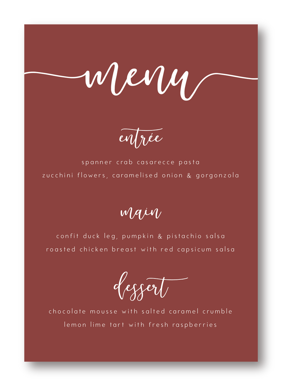 Meadows Menu