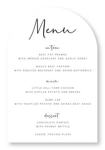 Palm Springs Menu