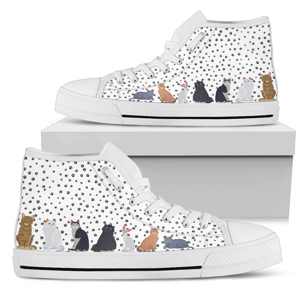 0f812a13524af Paw Friends White Cat Men's High Top Shoes