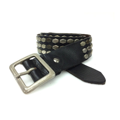 Black Latigo Leather Studded Belt w/Steel Hexagon Studs