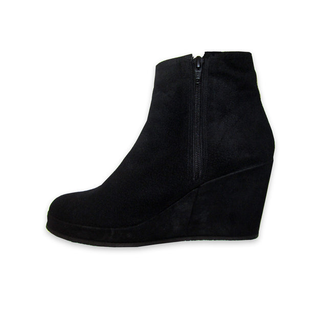 Bespoke Black Suede Wedge Boots, US 7
