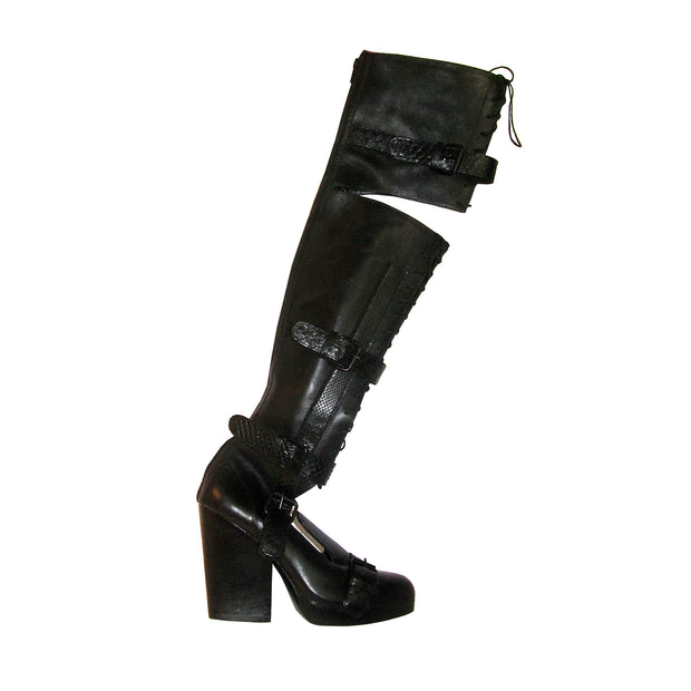 Black Leather & Python Thigh High Boots  Sz. 10