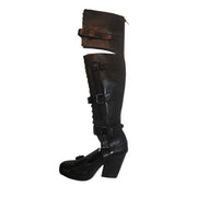 Black Leather & Python Thigh High Boots