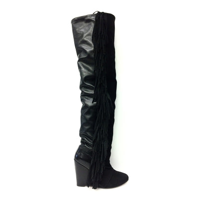 Black Leather and Suede Fringe Thigh High Boots, US 9