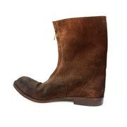 Men's Vintage Brown Zip-Up Suede Mid-Calf Boots, US 9, EU 43