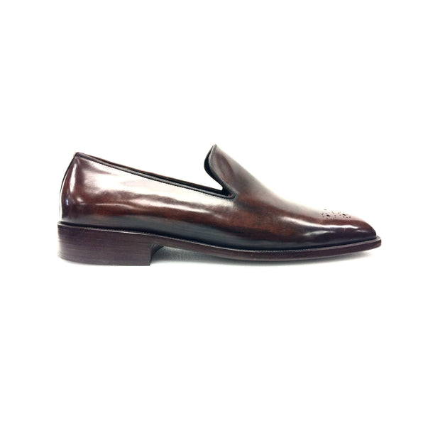 Polished Mahogany Leather Slip-On Dress Shoes
