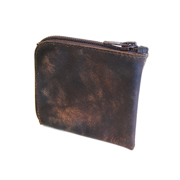 Zip Wallet, Matte Brown Aged Leather