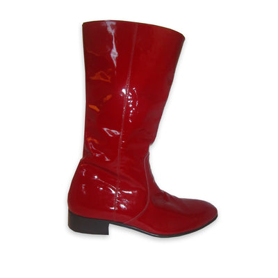 "Red Patent Leather Boots "" David Bowie "" Size 10"