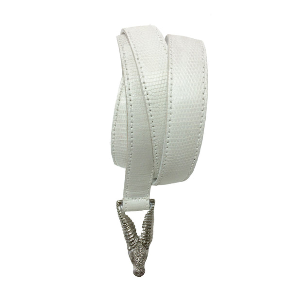 White Snake Stamped Print Belt with Silver Buckle, Size 36