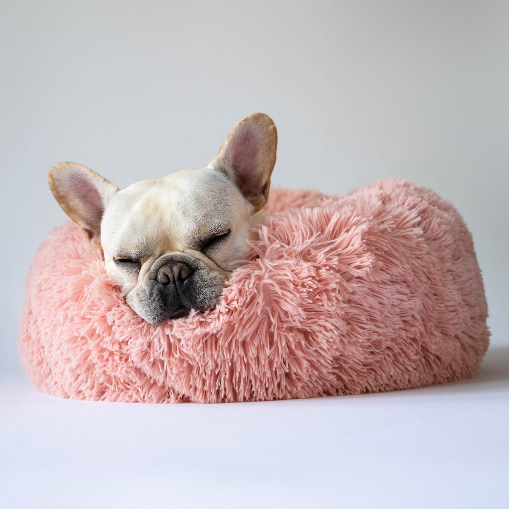Fluffy Round Dog Bed - Pink