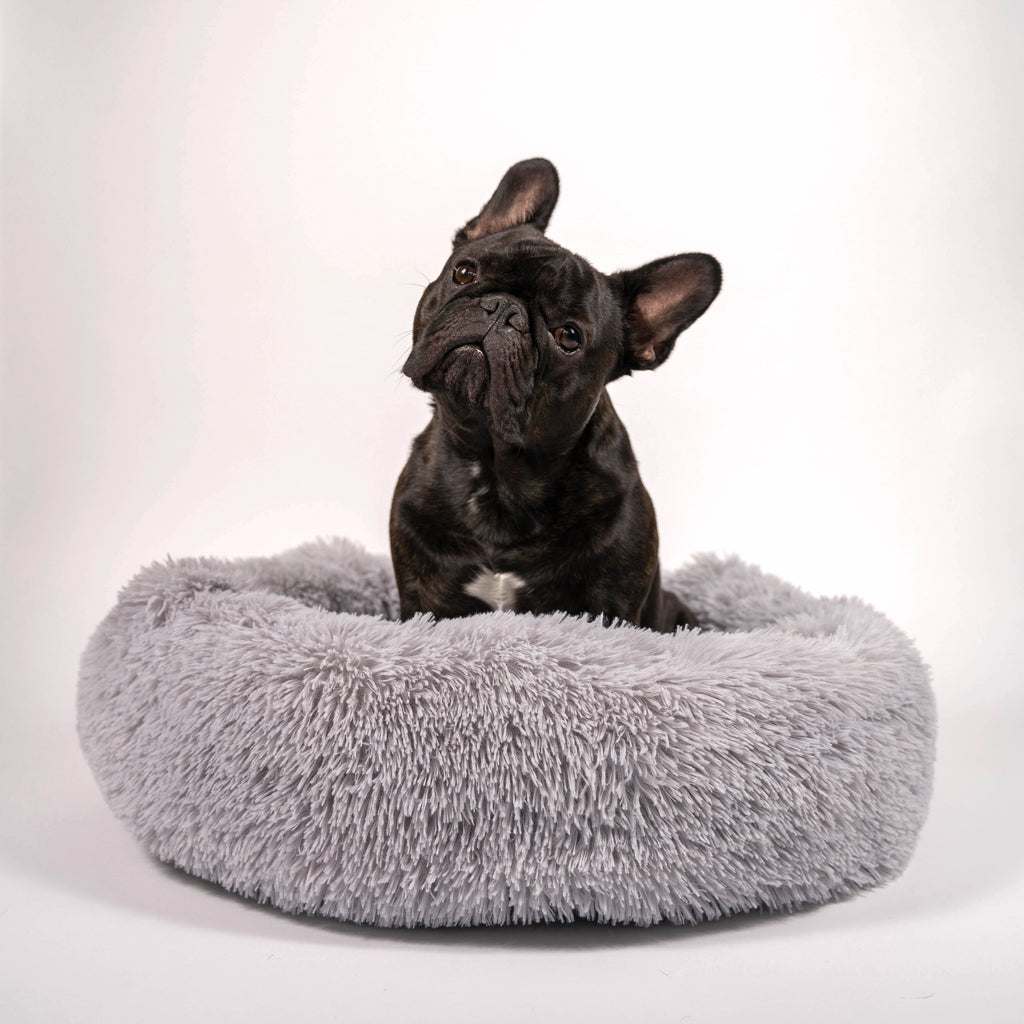 Fluffy Pouf Bed - Light Grey