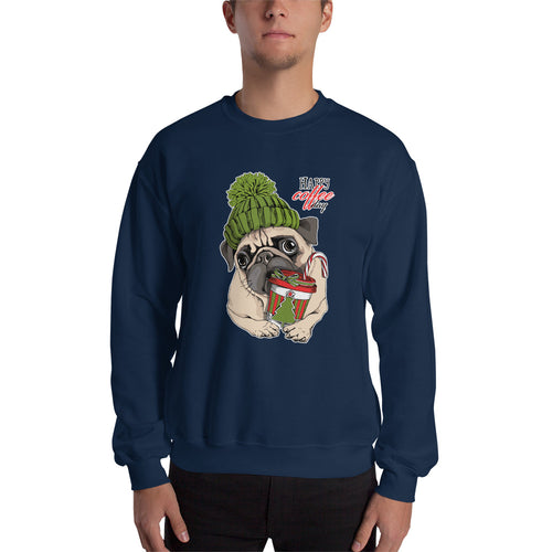 Mops Dog Kaffee-Sweatshirt No.3 🎄 Weihnachts-Edition ★★★ Premium Sweatshirt