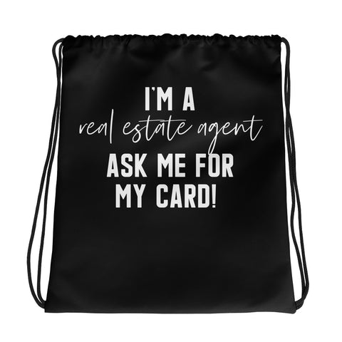 I'm a RE Agent Drawstring bag