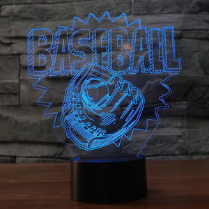 Baseball Glove Shape 3D Illusion Lamp
