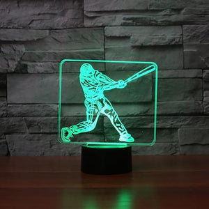 Baseball Player Modelling 3D Illusion Lamp