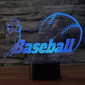 Baseball Modelling 3D Illusion Lamp