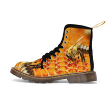 "Load image into Gallery viewer, ""Bee the Change"" Honeycomb Bee-print Orange Grunge Moto Boots (RoV Exclusive)"