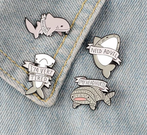 Endangered Shark Enamel Pin Brooch 4pc Set