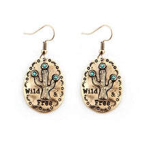 "Load image into Gallery viewer, Vintage Alloy ""Wild & Free"" Cactus Pendant Drop Earrings"