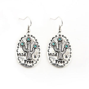 "Vintage Alloy ""Wild & Free"" Cactus Pendant Drop Earrings"