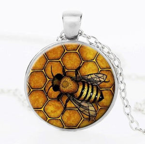 Bee Honeycomb Blend Icon Necklace