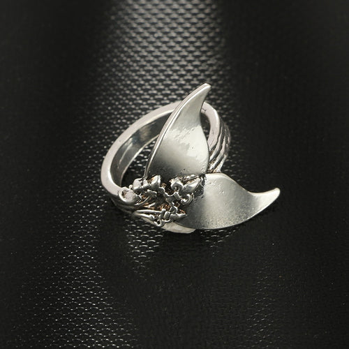 Whale Tail Antique Silver BoHo Ring