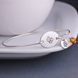 Sterling Silver Honey Bee Bangle Bracelet