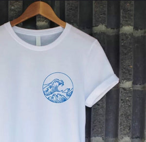 Japanese Blue Ocean Wave Printed Tee