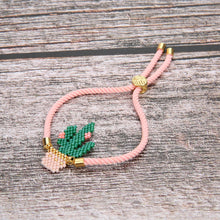 Load image into Gallery viewer, Handmade Luxury Imported Bead Cactus Bracelet w/ Gold Monstera Leaf Clasp