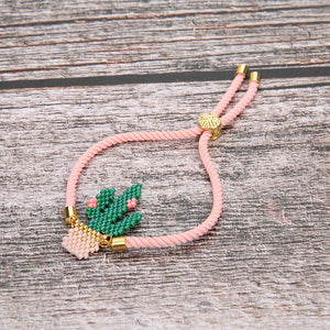 Handmade Luxury Imported Bead Cactus Bracelet w/ Gold Monstera Leaf Clasp