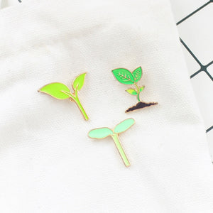 Green Leaves Bean Sprout Enamel Pin Brooch