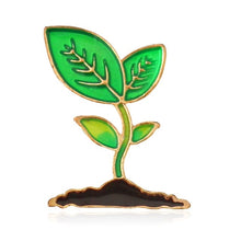 Load image into Gallery viewer, Green Leaves Bean Sprout Enamel Pin Brooch