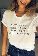 "Load image into Gallery viewer, ""Save...Plant...Swim..."" Typeface Graphic Tee"