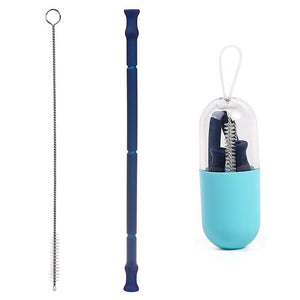 Reusable Collapsible Silicone Straw w/ Carrying Case & Cleaning Brush