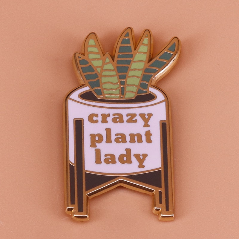 Plant Mom Crazy Plant Lady Pin Brooch