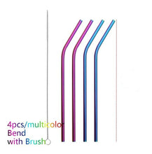 Load image into Gallery viewer, Colourful Eco-friendly Reusable Stainless Steel Straws 4PCS/Pack