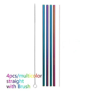 Colourful Eco-friendly Reusable Stainless Steel Straws 4PCS/Pack