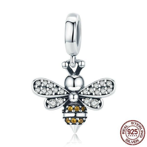 925 Sterling Silver Sparkling Honey Bee Crystal Charm