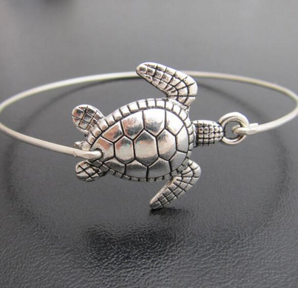 Silver Sea Turtle Rescue Bangle Bracelet
