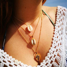 Load image into Gallery viewer, Ocean-Inspired Cowrie Shell 3-tier Necklace