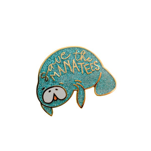 """Save the Manatees"" Endangered Species Enamel Pin Brooch"