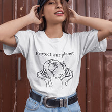 "Load image into Gallery viewer, ""Protect Our Planet"" Future Is In Our Hands 90s Aesthetic Graphic Tee"