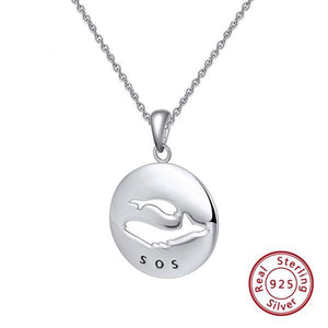 925 Sterling Silver Endangered Whales Necklace (Artist Limited Release)