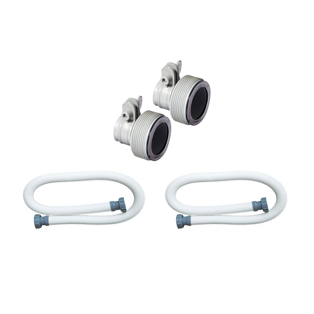Intex Replacement Adapter B w/ Collar for Filter Pump Conversion & Hose (2 Pack)