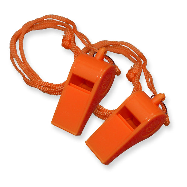 Lot of 20 Plastic Whistle with Lanyard for Emergency Survival Marine Safety etc.